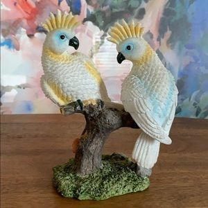 Pair of Cockatiels on a branch figurines